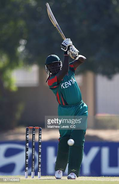 Steve Tikolo of Kenya in action during the warmup game between Kenya and Namibia ahead of the ICC World Twenty20 Qualifier at the ICC Academy on...