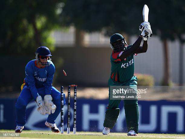 Steve Tikolo of Kenya is bowled by Bernard Scholtz of Namibia during the warmup game between Kenya and Namibia ahead of the ICC World Twenty20...