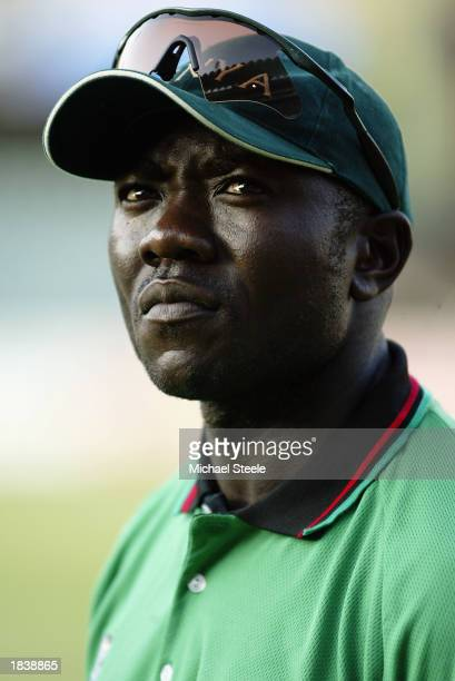 Steve Tikolo of Kenya looking pensive during the ICC Cricket World Cup Pool B match between Kenya and Bangladesh held on March 1 2003 at The...