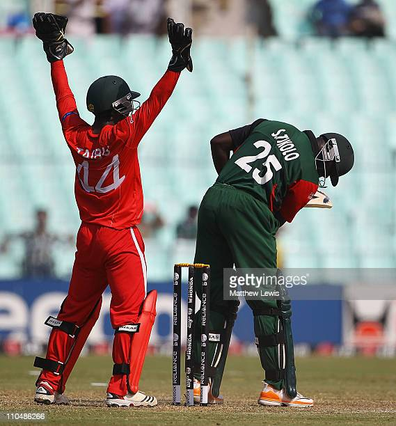 Steve Tikolo of Kenya looks on after he is bowled LW by Ray Price of Zimbabwe during the ICC World Cup match between Kenya and Zimbabwe at Eden...