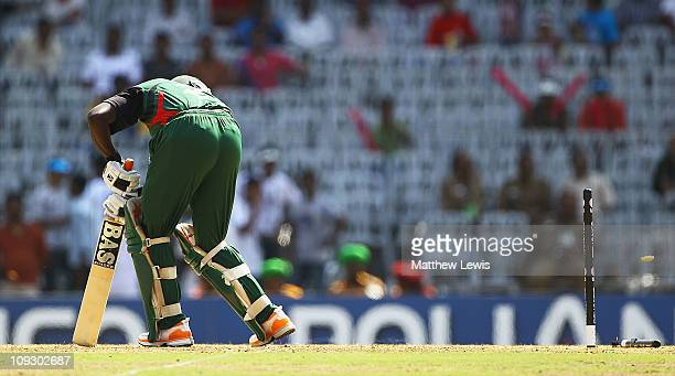 Steve Tikolo of Kenya looks on after he was bowled by Hamish Bennett of New Zealand during the 2011 ICC World Cup Group A match between Kenya and New...