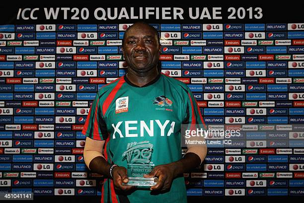 Steve Tikolo of Kenya pictured with the 'Man of the Match' award during the ICC World Twenty20 Qualifier match between Bermuda and Kenya at the ICC...