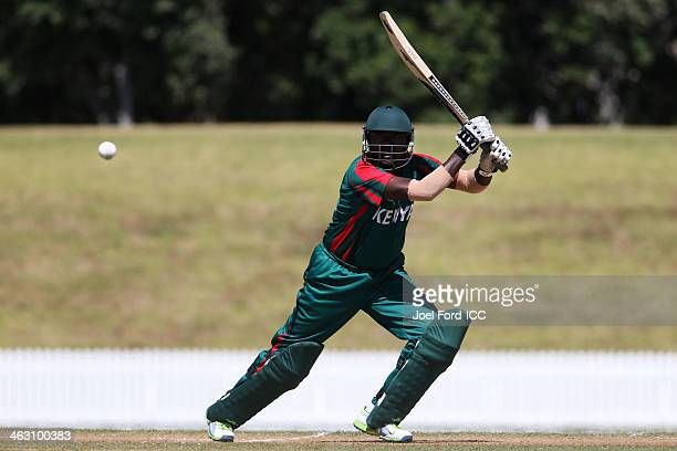 Steve Tikolo of Kenya plays a shot during an ICC World Cup qualifying match between Namibia and Kenya on January 17 2014 in Mount Maunganui New...