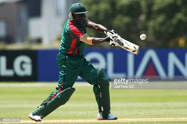 Steve Tikolo of Kenya plays a shot during an ICC World Cup qualifying match against Uganda on January 19 2014 in Mount Maunganui New Zealand