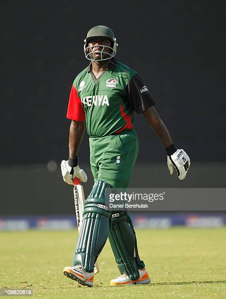 Steve Tikolo of Kenya walks back to the pavillion after being dismissed by Rizwan Cheema of Canada during the ICC Cricket World Cup group A match...