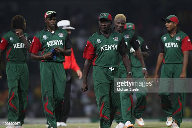 Steve Tikolo of Kenya walks from the field after his sides nine wicket defeat during the Kenya v Sri Lanka 2011 ICC World Cup Group A match at the R...