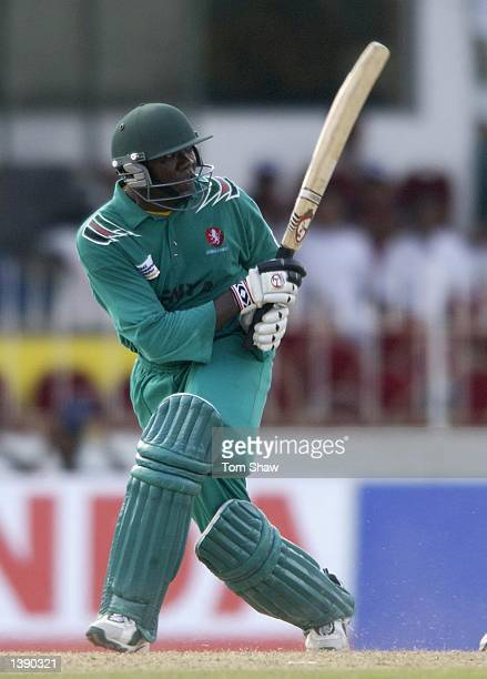 Steve Tikolo the Kenyan captian hits out on his way to 93 during the West Indies v Kenya match of the ICC Champions Trophy at the Singhalese Sports...