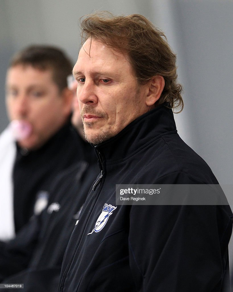 Steve Tomas of the Tampa Bay Lightning coaches behind the bench during the NHL Prospects Tournament on September 14, 2010 at Centre Ice Arena in Traverse City, Michigan.