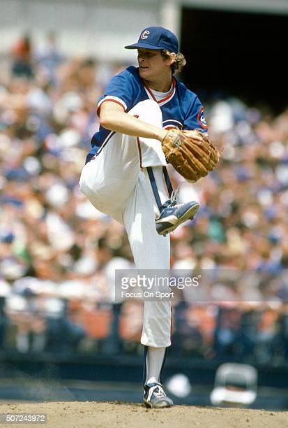 Steve Trout of the Chicago Cubs pitches against the New York Mets during a Major League Baseball game circa 1984 at Shea Stadium in the Queens...