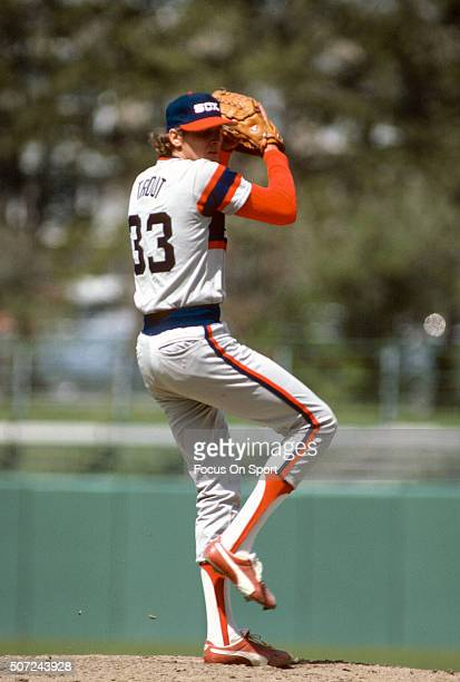 Steve Trout of the Chicago White Sox pitches against the Baltimore Orioles during a Major League Baseball game circa 1982 at Memorial Stadium in...
