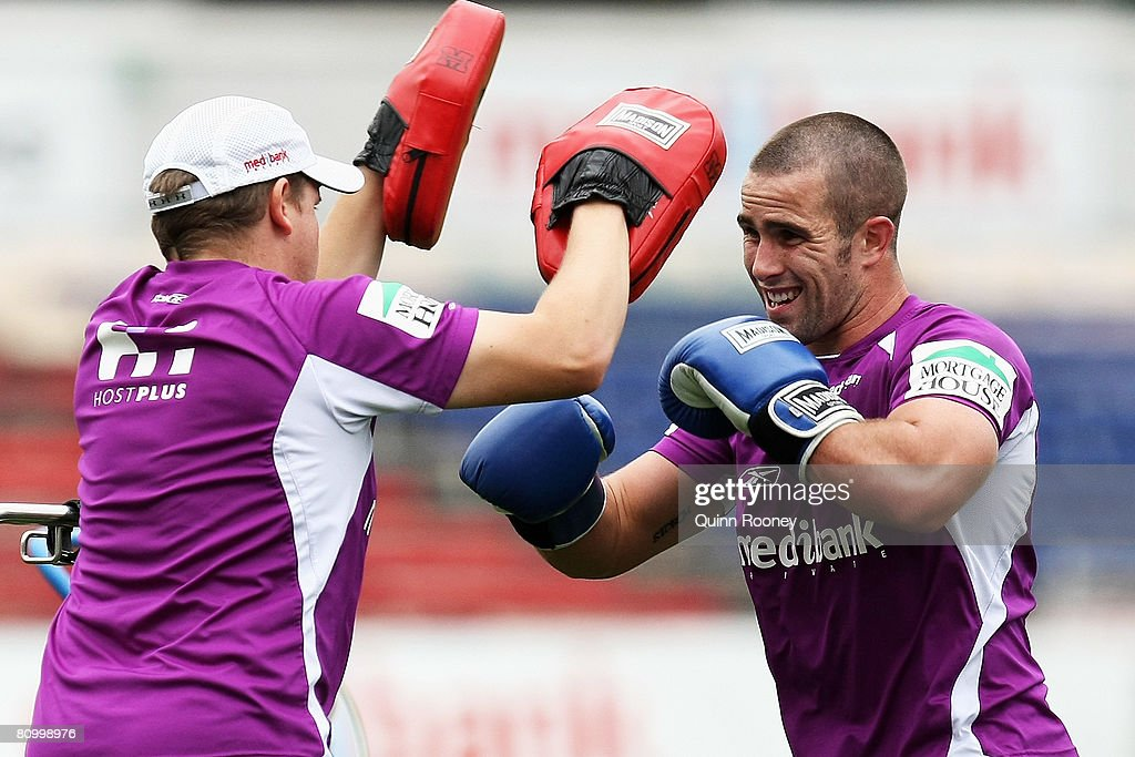 Steve Turner of the Storm does boxing training during a Melbourne Storm NRL training session held at MC Labour Park on May 6, 2008 in Melbourne, Australia.