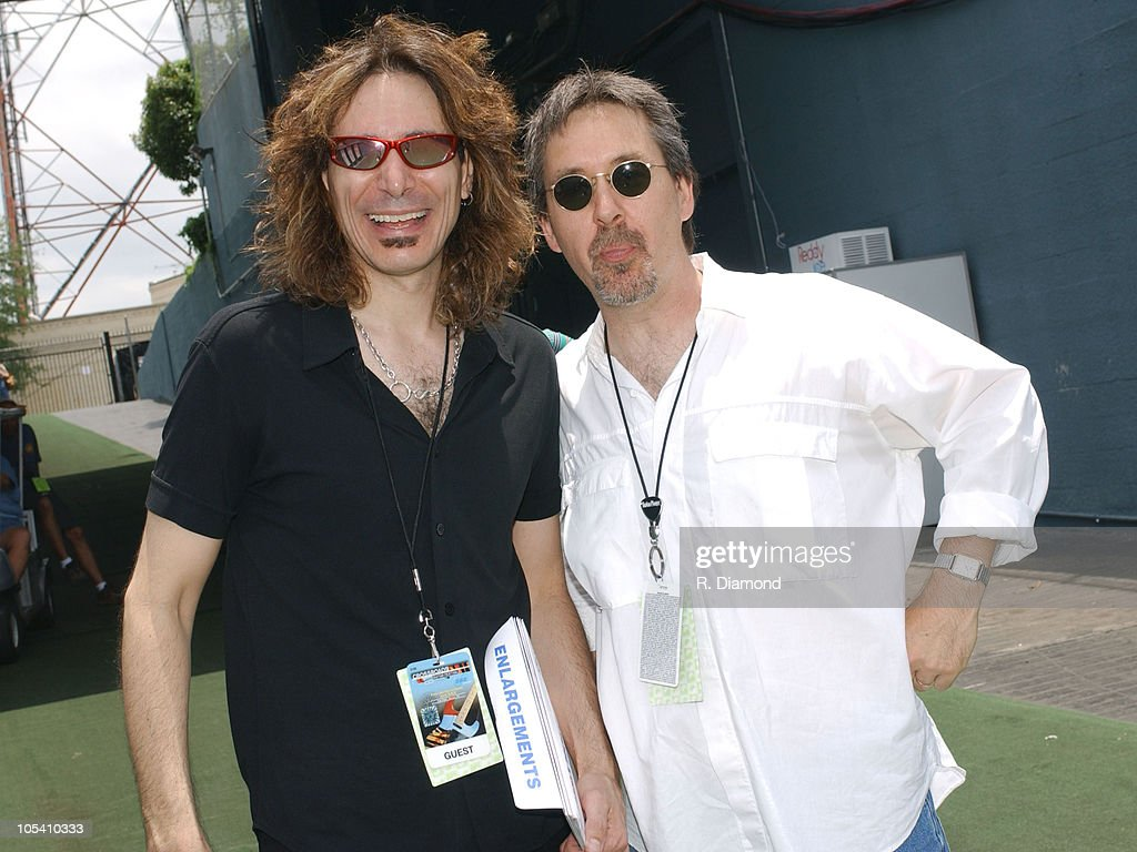 Steve Vai and Pete Huttlinger during Crossroads Guitar Festival - Day Three - Backstage at Cotton Bowl Stadium in Dallas, Texas, United States.