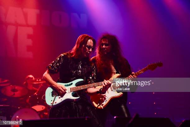 Steve Vai and Yngwie Malmsteen perform during the Generation Axe tour at Sands Bethlehem Event Center on November 27, 2018 in Bethlehem, Pennsylvania.