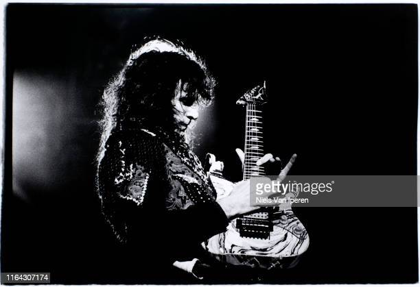 Steve Vai, performing on stage, Ahoy, Rotterdam, Netherlands, 11th January 1993.