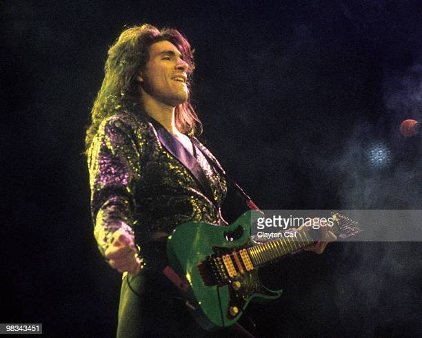 Steve Vai performing with David Lee Roth at the Oakland Coliseum in 1986.