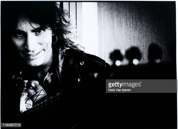 Steve Vai, portrait, Holiday Inn, Utrecht, Netherlands, 26th August 1990.