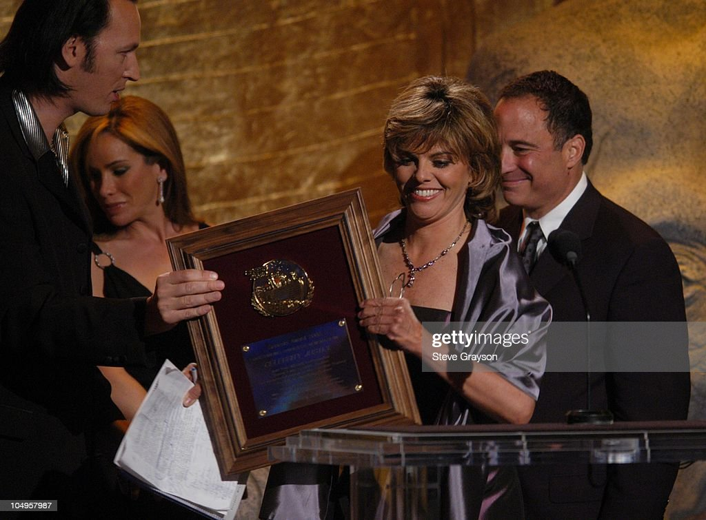 Steve Valentine and Melissa Rivers presents Jane Velez Mitchell and Harvey Levin with the Celebrity Justice Award.