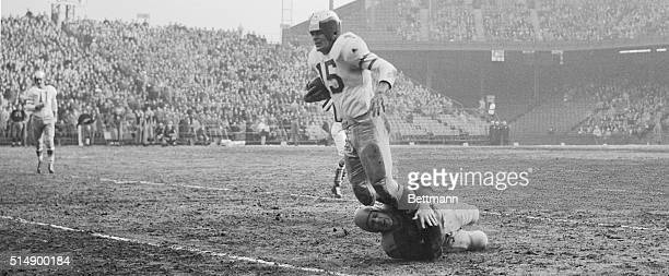 Steve Van Buren who scored three touchdowns and established a new national league ground gaining record today as his team the Philadelphia Eagles...