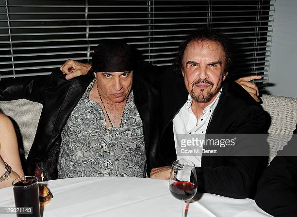 Steve Van Zandt and Dave Clark attend an after party celebrating Press Night of 'Backbeat' at Asia de Cuba in St Martins Lane Hotel on October 10...