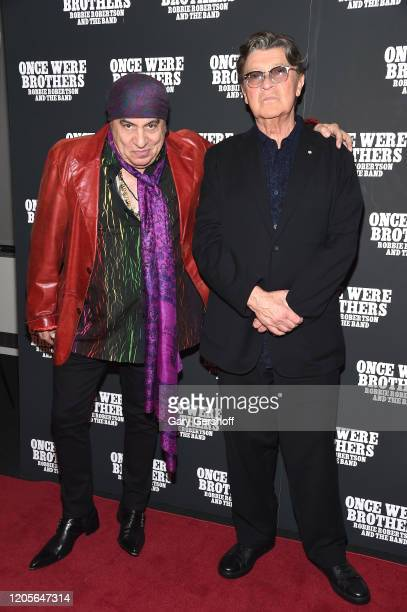 """Steve Van Zandt and Robbie Robertson attends the New York premiere of """"Once Were Brothers: Robbie Robertson And The Band"""" at Walter Reade Theater on..."""