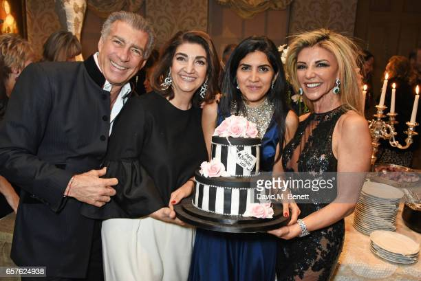 Steve Varsano Fatima Maleki Leila Maleki and Lisa Tchenguiz attend Lisa Tchenguiz's party hosted by Fatima Maleki in Mayfair on March 24 2017 in...