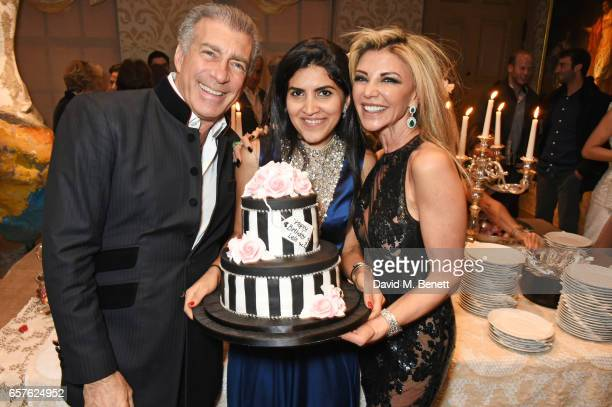 Steve Varsano Leila Maleki and Lisa Tchenguiz attend Lisa Tchenguiz's party hosted by Fatima Maleki in Mayfair on March 24 2017 in London England