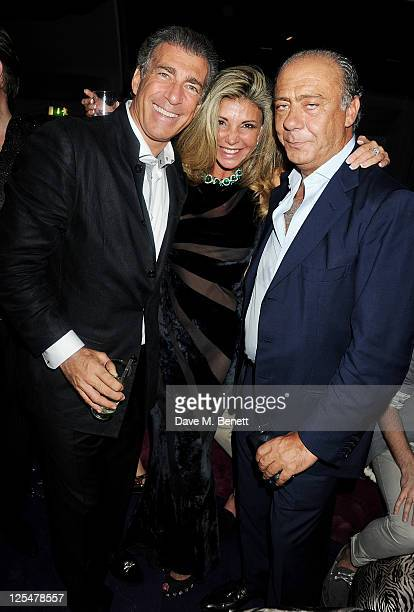 Steve Varsano Lisa Tchenguiz and Fawaz Gruosi attend an after party celebrating Roberto Cavalli's new Sloane Street boutique at Battersea Power...