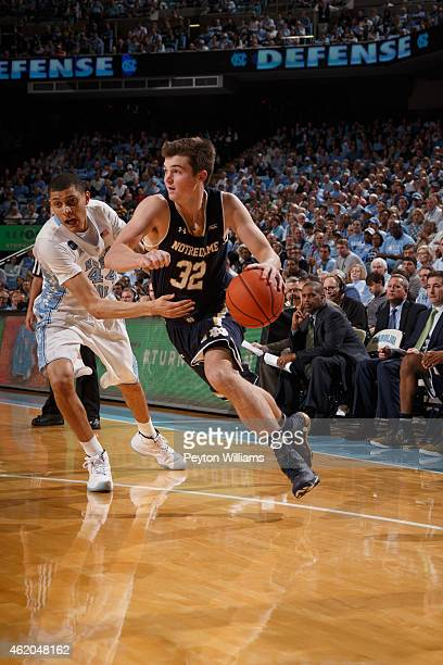 Steve Vasturia of the Notre Dame Fighting Irish plays against the North Carolina Tar Heels on January 05 2015 at the Dean E Smith Center in Chapel...