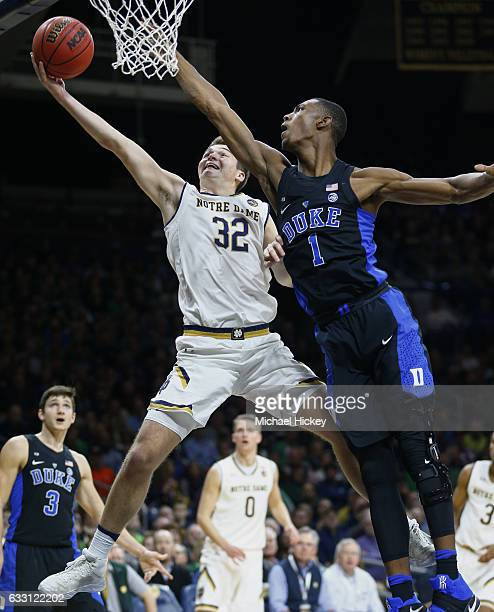 Steve Vasturia of the Notre Dame Fighting Irish shoots the ball as Harry Giles of the Duke Blue Devils defends at Purcell Pavilion on January 30 2017...
