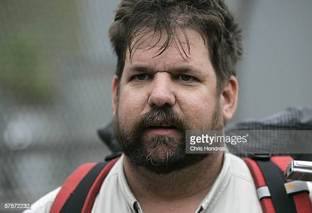 Steve Vaught known as the 'Fat Man Walking' nears the end of his crosscountry walk May 9 2006 in New York City Vaught began walking from his home...