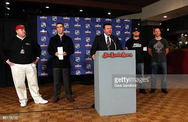 Steve Violetta Sr VP of Marketing for the Detroit Red Wings talks about NHL FaceOff Rocks to the media in a press conference at Joe Louis Arena...