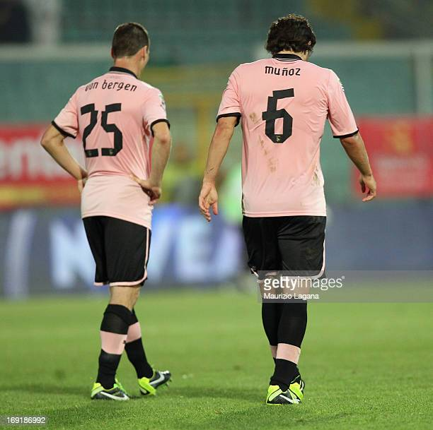 Steve Von Bergen and Ezequiel Munoz of Palermo show their dejection during the Serie A match between US Citta di Palermo and Parma FC at Stadio Renzo...