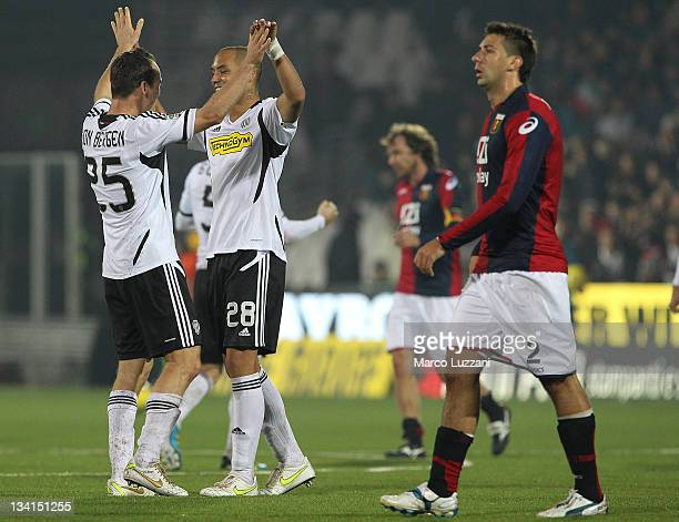 Steve Von Bergen and Yohan Benalouane of AC Cesena celebrate a victory at the end of the Serie A match between AC Cesena and Genoa CFC at Dino...