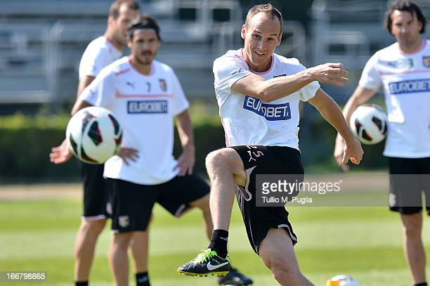 Steve Von Bergen in action during a Palermo training session at Tenente Carmelo Onorato Sports Center on April 17 2013 in Palermo Italy