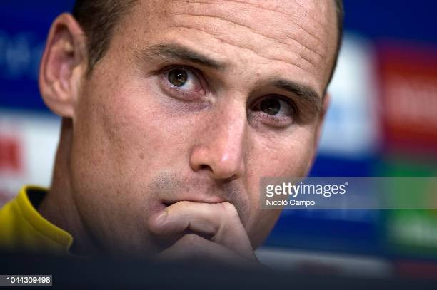 Steve von Bergen looks on during BSC Young Boys press conference on the eve of the UEFA Champions League football match between Juventus FC and BSC...