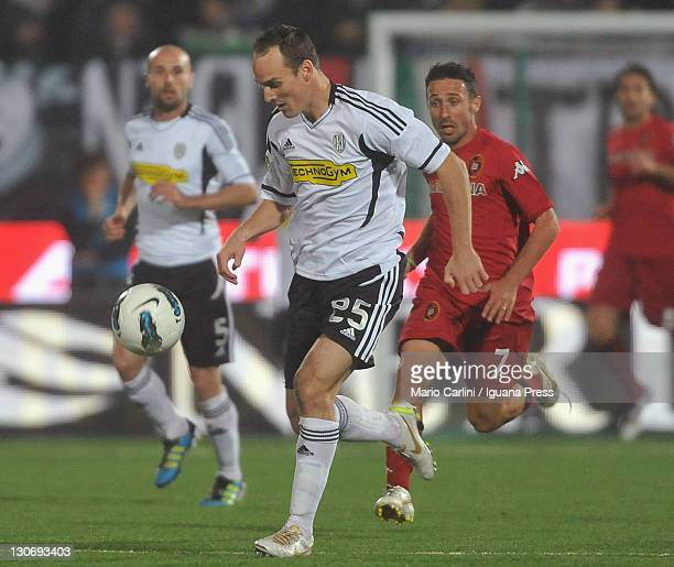 Steve Von Bergen of AC Cesena in action during the Serie A match between AC Cesena and Cagliari Calcio at Dino Manuzzi Stadium on October 26 2011 in...