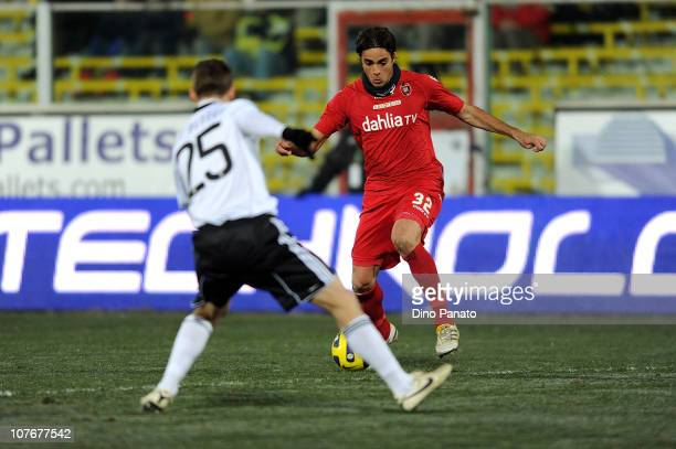 Steve von Bergen of Cesena competes with Alessandro Matri of Cagliari during the Serie A match between Cesena and Cagliari at Dino Manuzzi Stadium on...