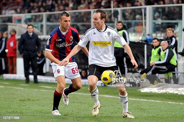 Steve Von Bergen of Cesena competes with Riccardo Meggiorini of Bologna during the Serie A match between Cesena and Bologna at Dino Manuzzi Stadium...