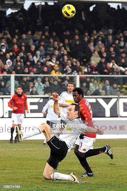 Steve Von Bergen of Cesena competes with Simplicio Fabio Henrique of Roma during the Serie A match between Cesena and Roma at Dino Manuzzi Stadium on...