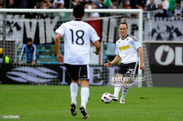 Steve Von Bergen of Cesena in action during the Serie A match between AC Cesena and Lecce at Dino Manuzzi Stadium on September 19 2010 in Cesena Italy