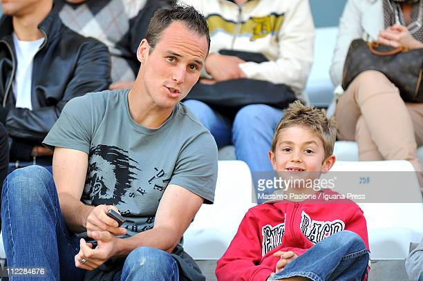 Steve Von Bergen of Cesena looks on with his son during the Serie A match between AC Cesena and AS Bari at Dino Manuzzi Stadium on April 17 2011 in...