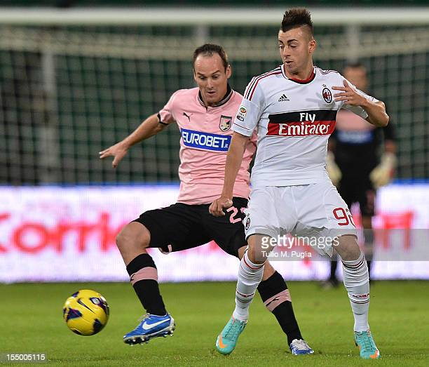 Steve Von Bergen of Palermo and Stephat El Shaarawy of Milan compete for the ball during the Serie A match between US Citta di Palermo and AC Milan...