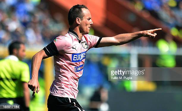 Steve Von Bergen of Palermo celebrates after scoring the opening goal during the Serie A match between UC Sampdoria and US Citta di Palermo at Stadio...