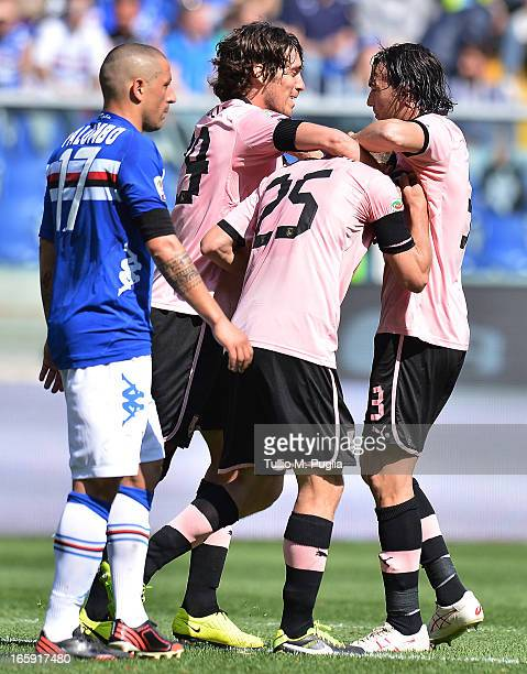 Steve Von Bergen of Palermo celebrates with teammates after scoring the opening goal of the Serie A match between UC Sampdoria and US Citta di...