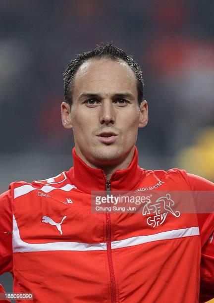 Steve Von Bergen of Switzerland during the international friendly match between South Korea and Switzerland at the Seoul World Cup Stadium on...