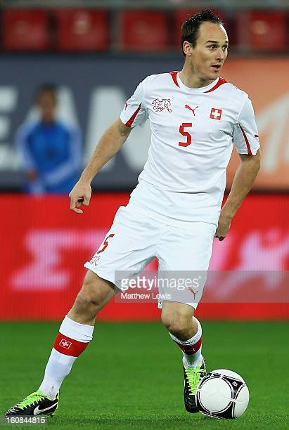 Steve Von Bergen of Switzerland in action during the International Friendly match between Greece and Switzerland at Karaiskakis Stadium on February 6...