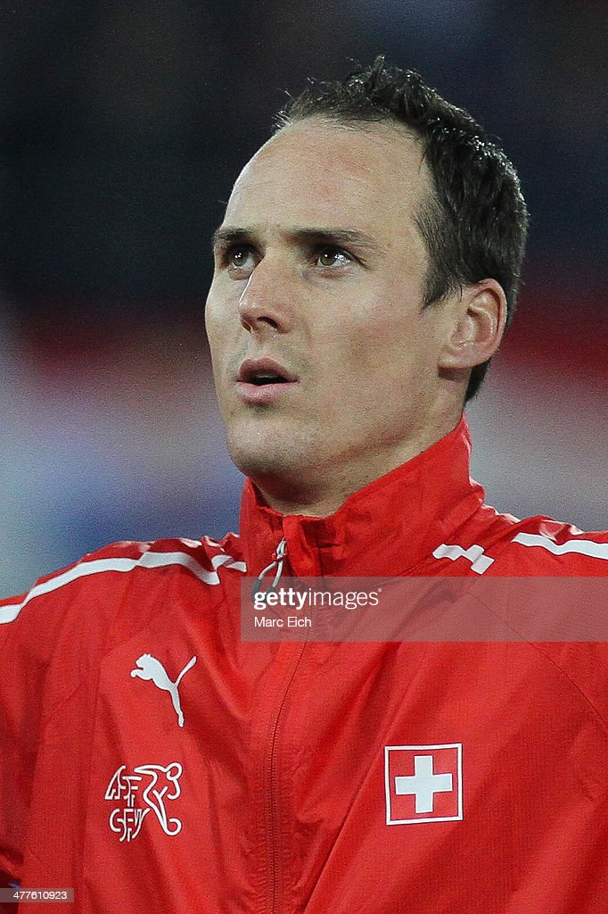 Steve von Bergen of Switzerland stands for the national anthem prior the international friendly match between Switzerland and Croatia at the AFG Arena on March 5, 2014 in St Gallen, Switzerland.