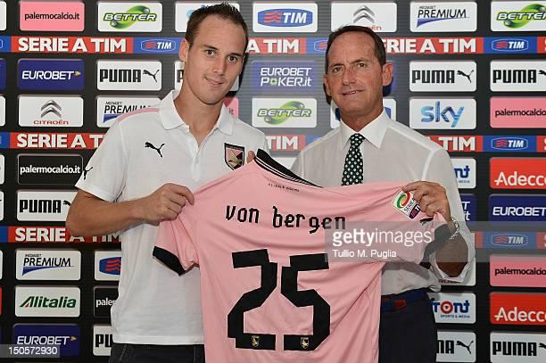 Steve Von Bergen poses with VicePresident Guglielmo Micciche before his presentation as new player of US Citta di Palermo at Carmelo Onorato Sports...