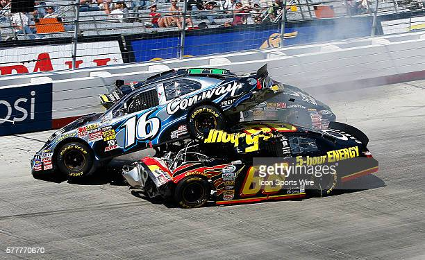 Steve Wallace gets under Colin Braun during the running of the Scotts Turf Builder 300 race at the Bristol Motor Speedway on Mar 20 2010 in Bristol TN