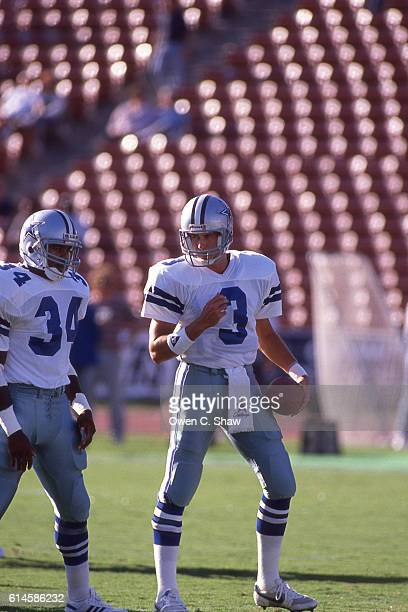 Steve Walsh of the Dallas Cowboys circa 1989 against the Los Angeles Raiders at the Coliseum in Los Angeles California